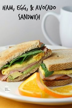 Ham, Egg and Avocado Sandwich | Renee's Kitchen Adventures - a great sandwich anytime of day!