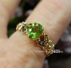 670e46748 Genuine Peridot, Hand Crafted Wire Wrapped Ring, August Birthstone. Swarovski  Crystal RingsBeaded RingsWire Wrapped RingsGreen ...