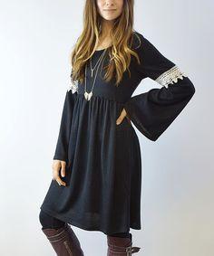 Love this Charcoal Crochet-Accent Bell-Sleeve Dress on #zulily! #zulilyfinds