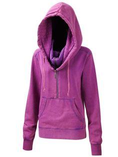 Womens 3/4 Zip Snowboarding Hoody Purple - Womens - Surfanic Shop