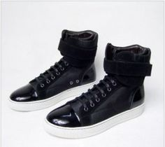Newest Stylish Lanvin Youth for Men Black Suede Navy Patent Cap toe High Top sneakers Lustrous suede upper with cracked navy leather detailing Cracked leather capped toe Lace up vamp with grosgrain laces; comes with white laces Leather detail at heel Leather lined Rubber sole Fabric / Leather / Rubber; Imported;