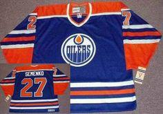 Edmonton Oilers Mens Jersey 27 DAVE SEMENKO Blue 1985 CCM Vintage Throwback Away NHL Hockey Jersey