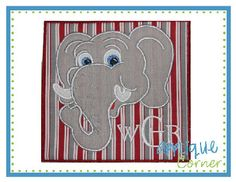 Elephant  Head for Monogram Patch Applique Design