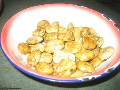 This was an appetizer we received said to be some type of mashed legume. After confirming it really was not what I thought it looked like (a big fat grub!) I tried one and found it to taste a lot like garbanzo beans. Very good!
