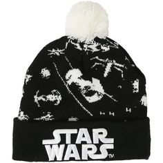 Star Wars Tie Fighter Pom Beanie Hot Topic ($20) ❤ liked on Polyvore featuring accessories, hats, beanie cap hat, white beanie hat, logo hats, embroidered beanie hats and embroidered hats