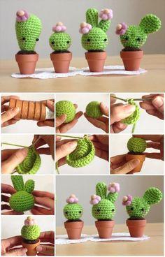 How to Make Amigurumi Crochet Kawaii Cactus. : How to Make Amigurumi Crochet Kawaii Cactus. Crochet Cactus, Love Crochet, Crochet Flowers, Knit Crochet, Stitch Crochet, Beautiful Crochet, Crochet Patterns Amigurumi, Crochet Stitches, Knitting Patterns
