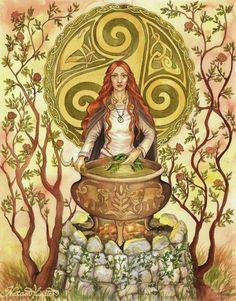 Celtic Goddess -  The Welsh Enchantress Ceridwen and her cauldron of Poetic Inspiration (Awen)
