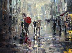 """Saatchi Online Artist Eva Czarniecka; Painting, """"Rainy Oxford Street"""" #art"""