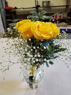 Yellow rose,  baby's breath, and greens with yellow trim. Nosegay, Baby's Breath, Corsages, Boutonnieres, Yellow Roses, Table Decorations, Home Decor, Flower Wrap, Homemade Home Decor