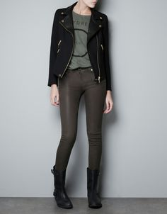 CROSS OVER JACKET WITH LEATHER LAPELS - Blazers - Woman - ZARA India