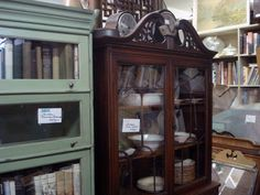 Shelves and Secretaries: Storage pieces are always useful around the house. Clean up shelves with paint or wallpaper. Although old-fashioned, secretaries are really useful pieces that can easily transform into a home office, bar, or linen closet.