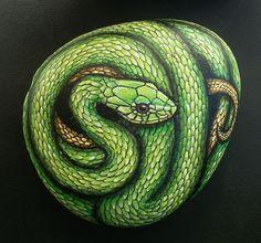 West African Green Mamba Snake - Hand Painted Rock Art - Garden Decor-amylenore