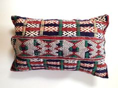 Small Rectangle Embroidered Cushion  This intricate cushion is double sided with a beautiful embroidered pattern on the front and blue and red stripes on the back. Face the cushion either way depending on your mood or style and this will bring an accent of colour to your space. Embroidered Cushions, Red Stripes, Throw Pillows, Mood, Colour, Space, Pattern, Blue, Accessories