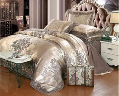Queen & King Size Coffee Jacquard Luxury Tan Royal Duvet Cover Bedding Set