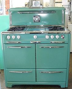 BLUE KITCHEN:  They say this is blue.  It actually looks a little greenish (aqua?)  I love that it have side by side ovens, a wide cook top and a retro look.