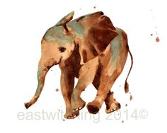 Watercolor ELEPHANT print, safari nursery print, 8x10 print, ready to frame, kids wall art