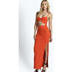Boohoo Tina Cutout Waist Maxi Dress ($12) ❤ liked on Polyvore featuring dresses, mini maxi dress, holiday party dresses, cut out party dresses, party dresses and cutout mini dress