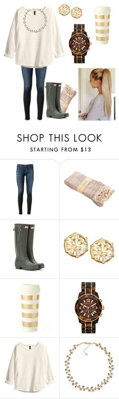 """""""Fall is finally here!"""" by emilybracey ❤ liked on Polyvore featuring AG Adriano Goldschmied, Hunter, Swarovski, Kate Spade, Michael Kors, H&M, Carolee, women's clothing, women and female"""