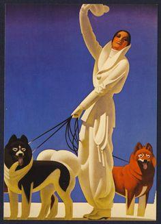 William P. Welsh artwork painting art deco winter ski dogs women winter whites 30s era ?