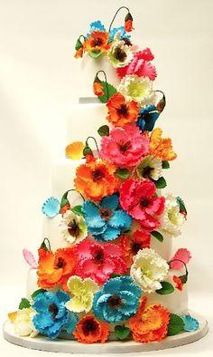 Eye catching floral wedding cake!