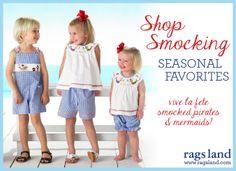 Our Vive La Fete Smocked Pirates & Mermaids Collection! Shop NOW at www.ragsland.com & follow Ragsland on Instagram!
