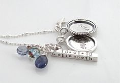 Hand stamped charm necklace with bezel circles by HammeringRedhead, $142.00