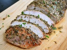 A handful of herbs and a little time in the oven will transform your plain pork loin into a masterpiece. Big flavor, little effort. Step by step photos.