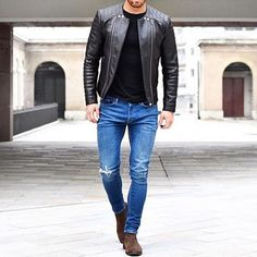 Biker look ~ Have a wonderful Sunday 😎 __________________________________ Chelsea Boots Outfit, Stylish Mens Outfits, Casual Wear For Men, Mens Style Guide, Men Style Tips, Biker Look, Leather Fashion, Mens Fashion, Leather Jacket Outfits