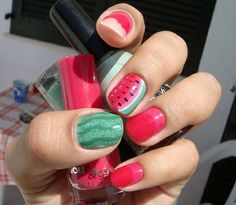 Red water melon nails