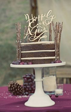 Happily ever after wedding cake http://www.weddingchicks.com/2014/01/24/rustic-winter-wedding-at-rawhide-ranch-by-christie-rose-events/