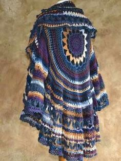 Crochet Patterns Coat NEXT Modellpackung Hippiejacke Samba No. Crochet Circle Vest, Crochet Bolero, Crochet Coat, Crochet Circles, Crochet Jacket, Freeform Crochet, Crochet Cardigan, Crochet Clothes, Coat Patterns