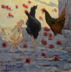 """Daily Paintworks - """"Chickens and Apples Original Little Oil Painting"""" - Original Fine Art for Sale - © Heidi Malott"""