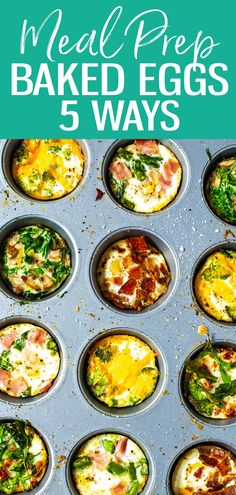 This oven baked eggs recipe will show you how to bake eggs in muffin tins in 5 different ways flavors include ham and asparagus broccoli cheddar mushroom spinach and more! bakedeggs mealprep breakfast air fryer baked egg cups w spinach cheese Eggs In Muffin Tin, Muffin Tin Recipes, Egg Recipes, Brunch Recipes, Breakfast Recipes, Cooking Recipes, Breakfast Ideas, Breakfast Sandwiches, Mexican Breakfast