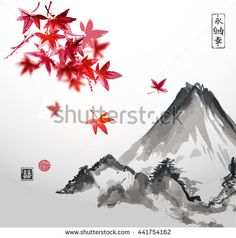 Red japanese maple and Fujiyama mountain. Traditional Japanese ink painting sumi-e. Contains hieroglyphs - eternity, freedom, happiness, double luck. Vector illustration. - stock vector