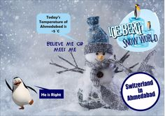 #Snowman at ICEBERG SNOWWORLD claims - 5degree, do you want to feel it, then do visit us at First Floor, Devarc Mall, Iscon cross Roads, S.g. Highway, Ahmedabad. A wonderful and amazing place to be in #summerseason, especially when the children want some entertainment and fun. Attractions to engage and fill you with joy & laughter ...#Snowfall #snowballing #kidsentertainment #Thunderstorm #snowsliding #Ropeclimbling and much more to amaze you. Visit us at www.icebergsnowwo... and book your t