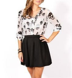 White Long Sleeve Skull Top (a favourite gothic punk clothes repin of VIP Fashion Australia )