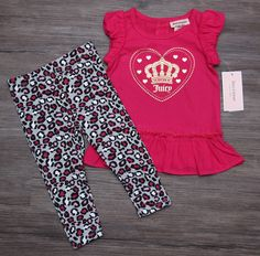 Juicy Couture Baby Girl Tunic & Legging Set ~ Pink, Gray & Gold ~ Leopard Pants