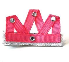 pink tiara hair clip bow