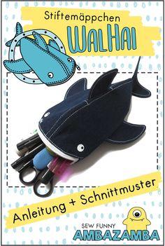 Cooles Stiftemäppchen/Schlamperle WalHai nähen Das Hai-Stiftmäppchen von ambaZamba mögen (fast) alle. Es ist der Hingucker in der Schule! Aber auch in der Uni, im Büro, in der Handtasche, im Bad oder wo auch immer, erfreut es seinen... Fabric Patterns, Sewing Patterns, Sewing Crafts, Sewing Projects, Sewing Ideas, Diy Pencil Case, Diy Presents, Like Animals, Leather Keychain