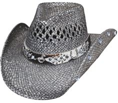 Bullhide Facing Fears Raffia Straw Cowgirl Hat Vented Crown Horse Concho  Gray f1f0d76826f4