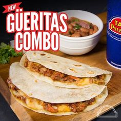 NEW GÜERITAS COMBO Come and enjoy our new and delicious Güeritas combo. 2 single quesadillas with al pastor meat, charro beans & a regular drink $6.99 . Valid Monday through Friday. Other restrictions may apply. Only at our participating locations. #TacoPalenque #BIGSABOR