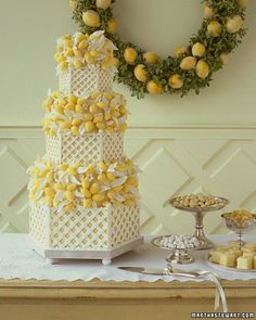 Absolutely stunning the white lattice wedding cake, could use other fruit or flowers instead of lemons