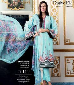 Gul Ahmed Chantilly de Chiffon festive collection CT-112