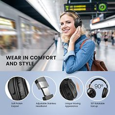 Mpow Active Noise Cancelling Bluetooth Headphones Over Ear, Foldable Headset , Never Power off with Backup Audio Cable, Stereo Headphones Bluetooth Headset with Mic for PC/ Cell Phones/ TV - Xbox One Gaming Headset