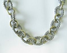 David Yurman silver and 18K yellow gold oval link necklace #yurman #wickliffauction