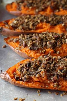 twice baked sweet potatoes with chipotle pecan streusel