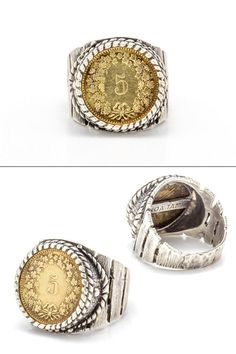 coin sterling silver ring with the 5 Rappen coin of by NoaTam