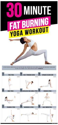 Fat Burning Yoga, Fat Burning Workout, Pilates, Fitness Workout For Women, Yoga Fitness, Hiit, Cardio, Yoga Sport, 30 Minute Yoga
