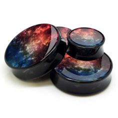 Red Galaxy Ear Plugs - http://www.bodyjewelrysource.com/