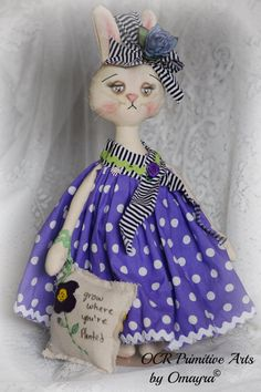 ROSIE COTTON  Spring Bunny and pillow  OOak by OCRPrimitiveArts, $55.00